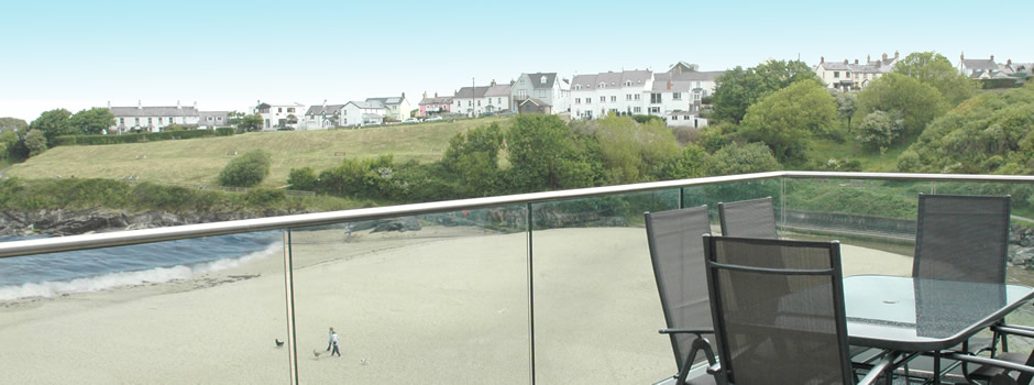 Balcony view from Aberporths finest luxury holiday apartments