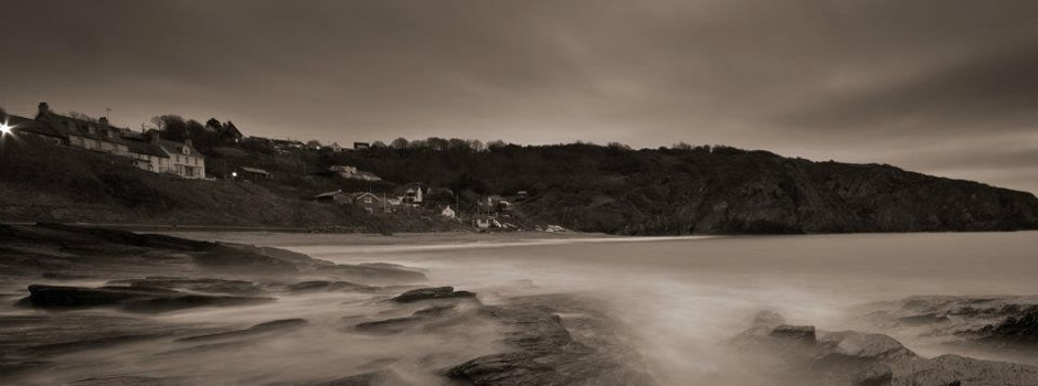 Long exposure shot of the beach at Aberporth